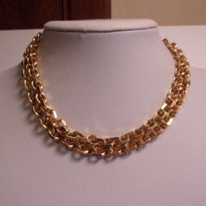 Vintage Double Chain Gold Tone Choker Necklace